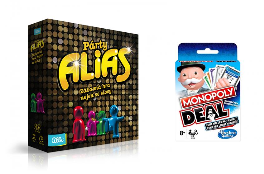Monopoly Deal, Albi, orientační cena 199 Kč; Párty ALIAS, Albi, orientační cena 699 Kč